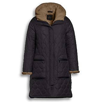 Creenstone Black Straight Fit Quilted Coat With Faux Fur Inner Hood Lining