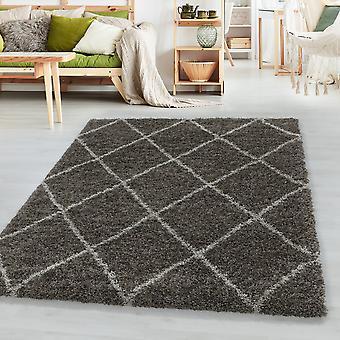 Sala de estar alfombra ALVA de alta pila soft rombo diseño