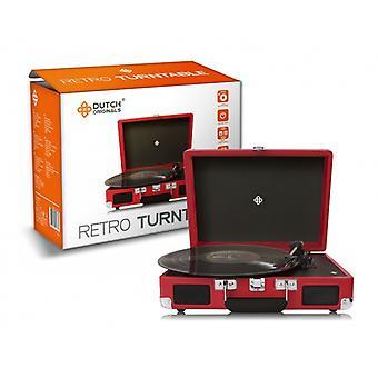 DUTCH ORIGINALS Retro Vintage tocadiscos con altavoces integrados, para discos y dispositivos de audio, fundas en diferentes colores, 33-45-78 rpm, conexión para AUX 3,5 mm y 2