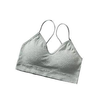 V Gât Cami Bralettes Bralettes pentru femei, căptușite fără sudură Bralette Curele 2pack (Gray)