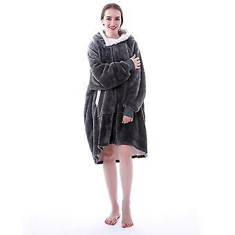 Teplá a útulná tlustá flanelová oversized mikina s rukávy a obří kapsou (šedá)