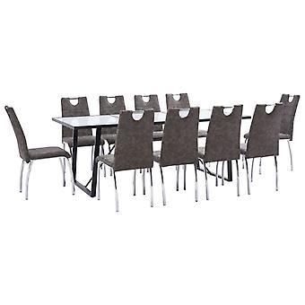 vidaXL 11 pcs. Dining group Braun faux leather