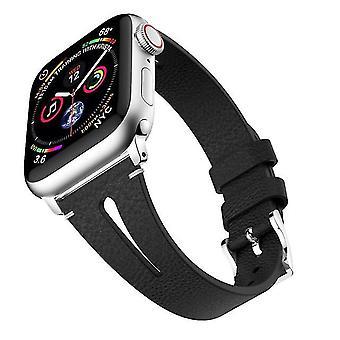 Correa de piel en forma de gota para Apple Watch de pulsera serie 43 y 2 y 1 y 42 mm negro