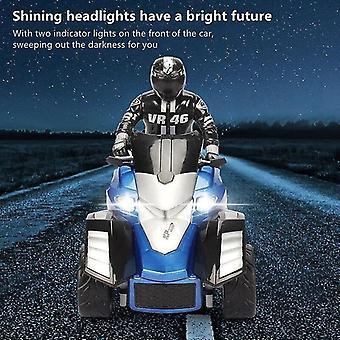 Hohe Simulation RC Motorrad Fernbedienung Motorrad Drift Auto Flash LED Licht Rotation Spielzeug (Blau)