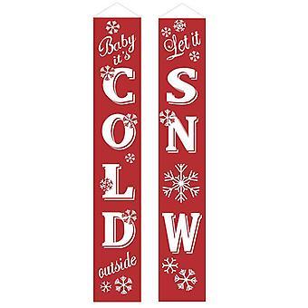 (22) Glædelig jul Santa Party hængende Banner Have Bannere Xmas Dør Dekoration