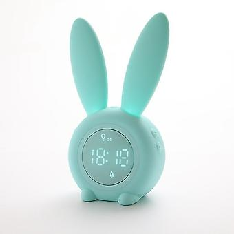 Children's light alarm clock, Cute Rabbit Children's alarm clock Digital night light LED alarm clock with bedside lamp Snooze function Time-controlled night light Children's day gift for girls, boys,(green)