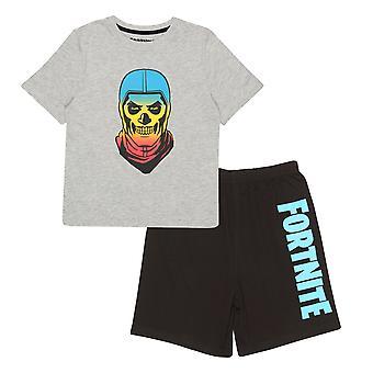 Officiella barn Fortnite Gradient Skull Kort Pyjamas Set Boys Girls PJs