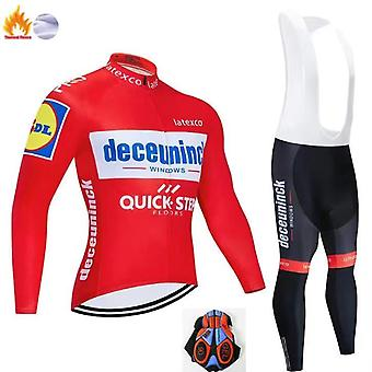 Long Sleeve Cycling Jersey 20D Gel Padded Bib Pants Trousers Autumn Winter Thermal Fleece Cycling Set
