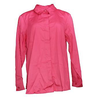 Isaac Mizrahi Live! Frauen's Top Button Down Kragen Shirt rosa A378608