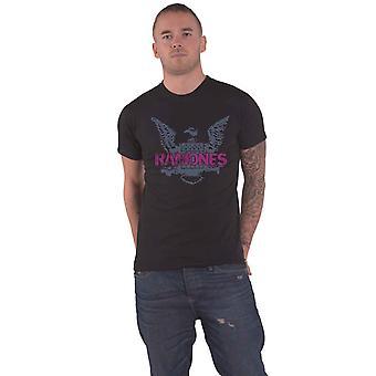 Ramones T Shirt Purple Eagle Band Logo nya officiella Mens Black