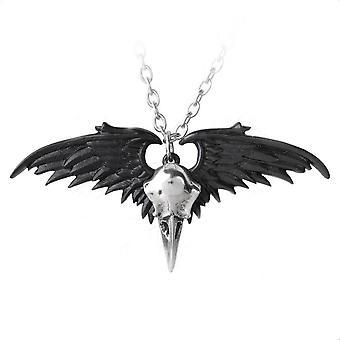 Alchemy Gothic Ravenger musta / hopea Winged korppi kallo riipus