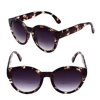 Womens Round Cat Eye Bifocal Sunglasses - 2 Pair Included with Soft Carrying Cases - Tortoise - 3.00