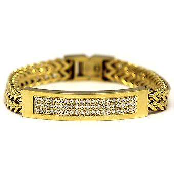 Small 18k Gold Plated 2 Row CZ Franco Link ID Bracelet 8 Inches