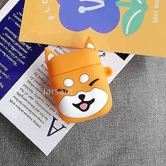 Schattige cartoon 3d siliconen oortelefoon hoesjes voor airpods 1 2 (Oranje Hond)