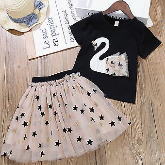 Kids Girl Alkalmi Party Szalagavató ruha nyári póló Tutu szoknya Set Outfit