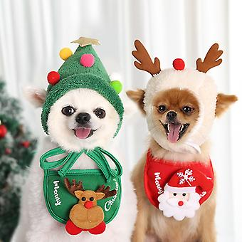 Dogs, Cats, Pets, Christmas Hats, Saliva Scarves, Bibs, Autumn And Winter Clothes And Dressing Supplies (a Set Of White Hat And Red Scarf)