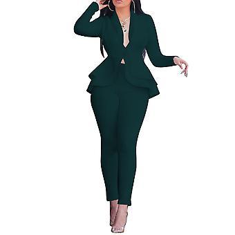 ميل المرأة الصلبة اللون قطعتين دعوى عارضة بدلة سليم (أعلى والسراويل) 4 ألوان