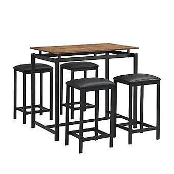 木製スチールフレームダイニングテーブルと椅子