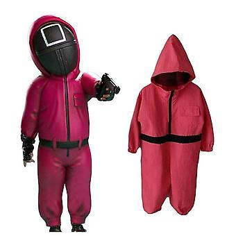 Niños Calamar Juego Disfraz Mono Villano Traje Rojo Halloween Cosplay Para Niños Chicas