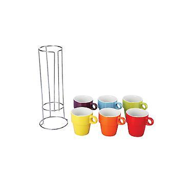 Colours 6 Piece Mug Set With Stand 220ml Cups Tea Coffee Mugs