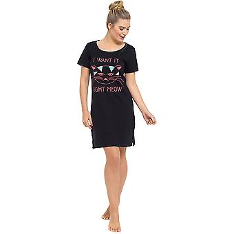 Ladies Fun Print Short Sleeve Jersey Nightdress Nighty Nightie Sleepwear