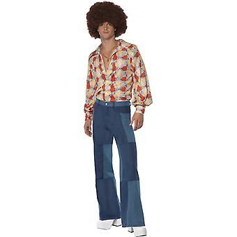 Mozaic barbati aripi pantaloni denim look 1970 stil