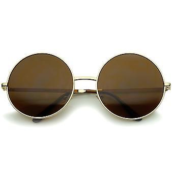 Super Large Oversize Slim Temple Round Sunglasses 61mm