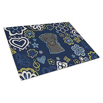 Blue Flowers Black Labrador Glass Cutting Board Large