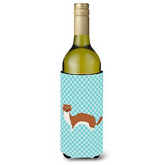 Wiesel blau kariert Weinflasche Beverge Isolator Hugger