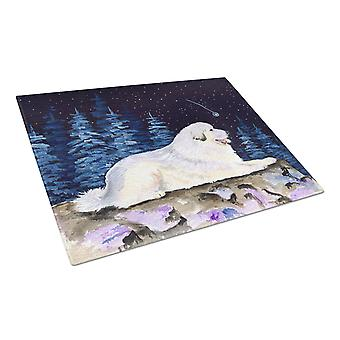 Carolines Treasures  SS8438LCB Starry Night Great Pyrenees Glass Cutting Board L