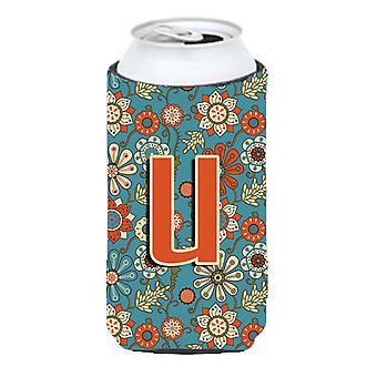 Letter U Flowers Retro Blue Tall Boy Beverage Insulator Hugger