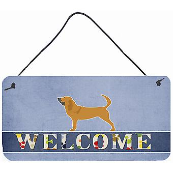 Carolines tesouros BB5488DS812 Bloodhound bem-vindo parede ou porta pendurada imprime