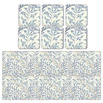 Pimpernel Willow Boughs Blue Placemats and Coasters Set