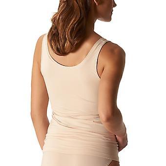 Mey 25816-703 kvinnors organiska Tan Solid färg linne Vest