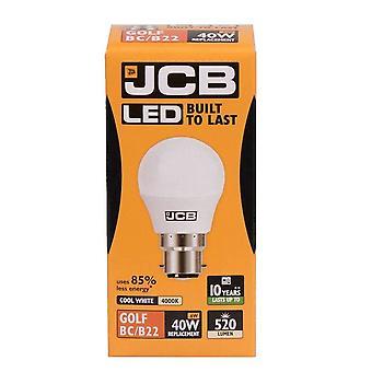 1 JCB X LED 6w = 40w BC/B22 Golf Ball ampoules baïonnette bouchon 520lm blanc froid 4000k Non dimmables [classe énergétique A +]