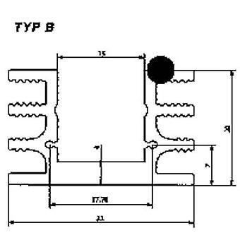 """פישר אלקטרונית SK 76 37, 5 כיור החום של SA 6.5 K/W (L x W x H) 37.5 x 32 x 20 מ""""מ עד 220, כדי 126"""