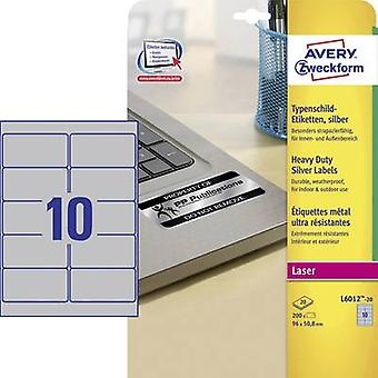Avery-Zweckform L6012-20 Labels 96 x 50.8 mm Polyester film Silver 200 pc(s) Permanent Nameplates Laser, Copier