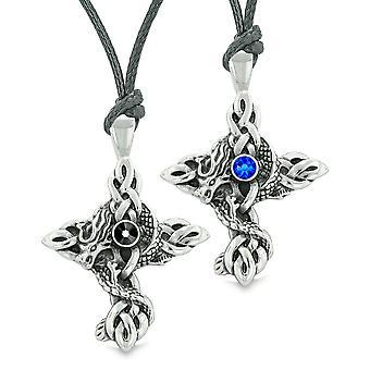 Incendies de nœuds celtiques de Dragon des amulettes Love Couples ou meilleur amis bleu colliers noirs