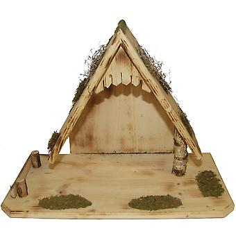 Crib Nativity scene wood Nativity stable BARNABAS hand work for characters up to 15 cm