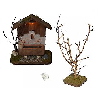 Fountain House with lighting with tree and cat for Nativity stable Nativity accessories