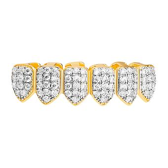One size fits all bottom Grillz - VAMPIRE cubic ZIRCONIA gold