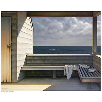 Sea Bench Poster Print by Daniel Pollera (21 x 17)