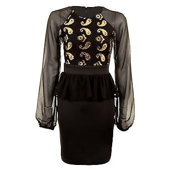 С длинными рукавами кружева дамы сетка блесток Пейсли воланами шифона женщин Bodycon платье