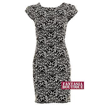 Dames zwarte Floral Lace crème uitgesneden rug bekleed vrouwen Bodycon korte jurk