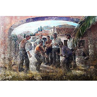 Murales-morra-photo-sardinia-tradions Poster Print by Enzo Pace