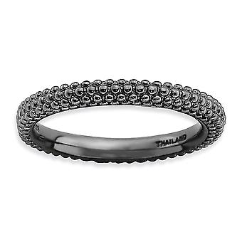 2.5mm 925 Sterling Silver Polished Patterned Ruthenium plating Stackable Expressions Black plated Domed Ring Jewelry Gif