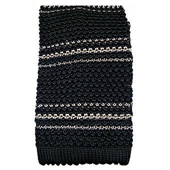 KJ Beckett Silk Striped  Knitted Tie - Black/White/Grey