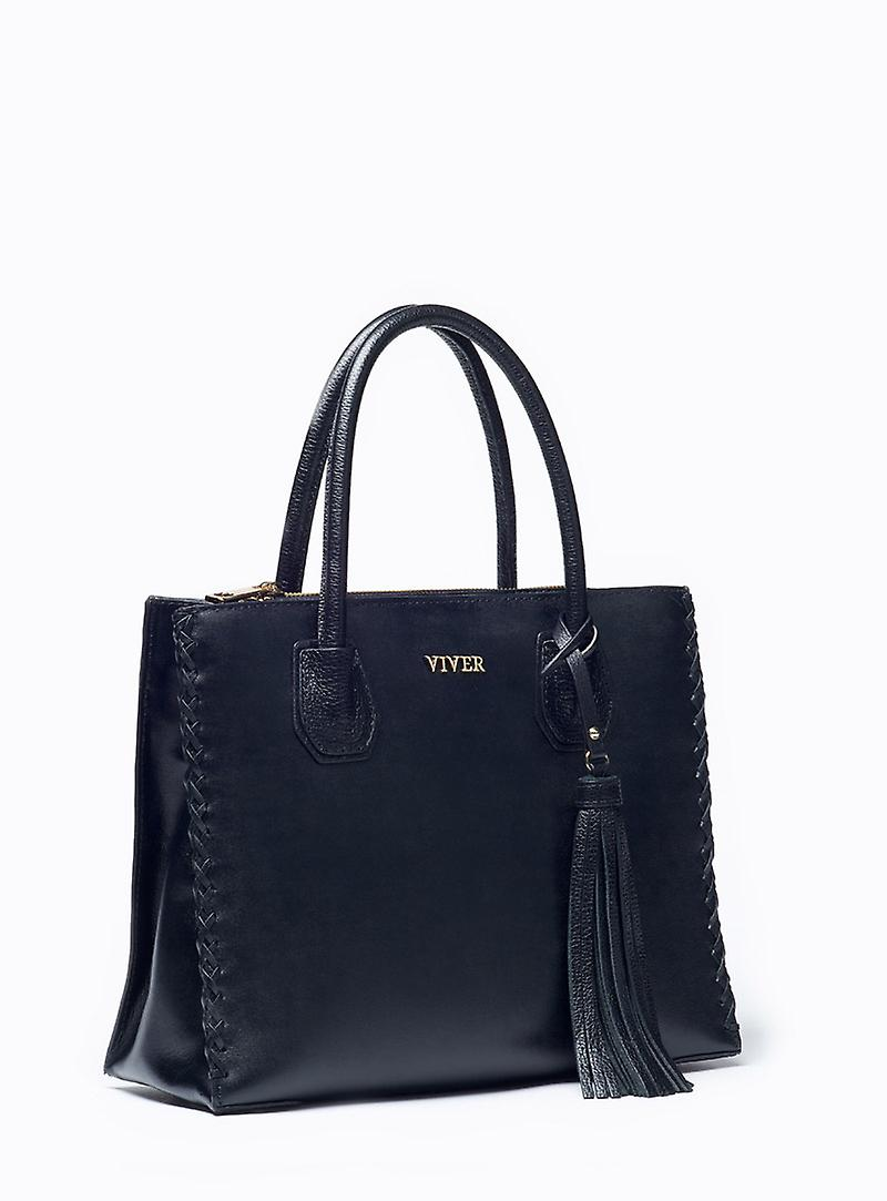 Viver Forte Black Leather Handbag