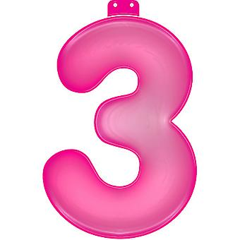 Oppustelige figur 3 pink 35 cm