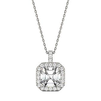 14K White Gold Moissanite by Charles & Colvard 8mm Asscher Pendant Necklace, 2.57cttw DEW